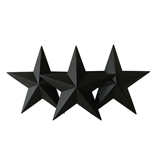 CVHOMEDECO. Land rustikale antike Vintage Geschenke schwarz Metall Barn Star Wand / Tür Dekor, 30.5 cm, 3er Set. -