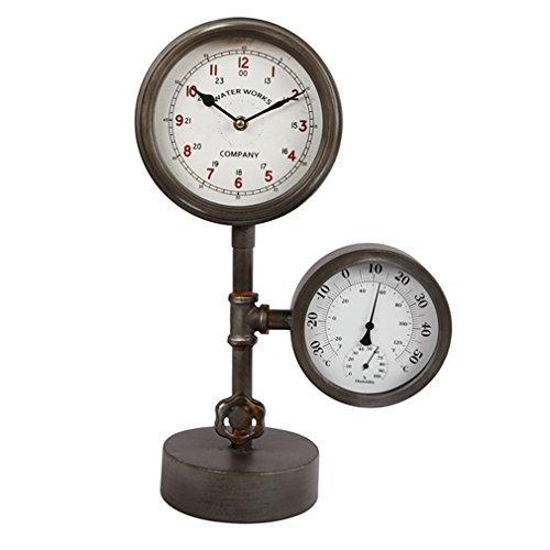 Standuhr Metall Uhrwerk Dekouhr Nostalgie Hydrometer Thermometer Wasseruhr Wasserrohr Design -grau schwarz rost . Von Haus der Herzen®