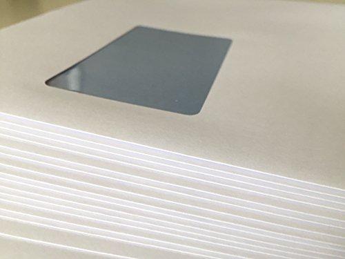 25 Versandtaschen mit Fenster, C4 = 324 x 229 mm, mit Laser bedruckbar, hitzefestes Folienfenster, Geschäfts-Umschläge, mit Abziehstreifen