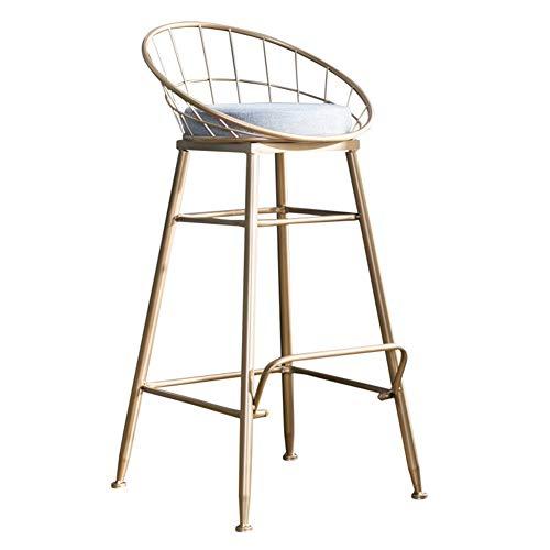 Lehrstuhl QUANFANG Stuhl Nordic Restaurant Cafe Eisen Golden Esszimmerstuhl Metall Hohl Bar Stuhl Tee Shop Outdoor Freizeit Hochstuhl (Color : Gold, Size : High 75) -