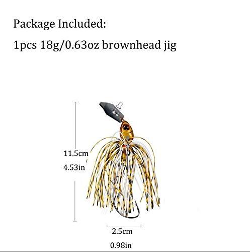 L-MEIQUN, 1 stück Angeln Chatter Köder 18g 14g Jigkopf Angelköder 3D Augen Bass Fishing Jigs Chatterbait (Color : 1pcs 18g brownhead) -