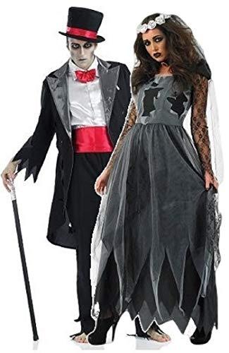Fancy Me Damen und Herren Paare Dead verstorben Leiche Geist Zombie Braut & Bräutigam Halloween Horror Kostüm Outfit Übergröße - Schwarz, Ladies UK 8-10 & Mens Medium (Zombie Braut Und Bräutigam Kostüm)