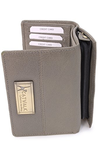 Catwalk Collection Handbags Small Leather Purse - Victoria RFID Protection Zip up Coin Compartment Credit Card Wallet Grey Box