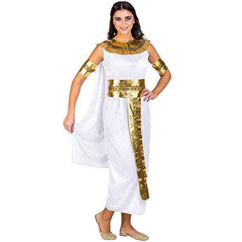 Frauenkostüm Nilkönigin Kairo | langes Kleid mit angenähtem Cape | goldene Armbänder, Gürtel & Kragen (XXL | Nr. 300493)