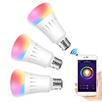 E27 Smart Light Bulb RGBW Light Bulbs WIFI App Voice Control Work With Alexa Google Color Changing Time Setting for Home Hotel Kitchen Party (No Hub Required,7W, 3 Packs)
