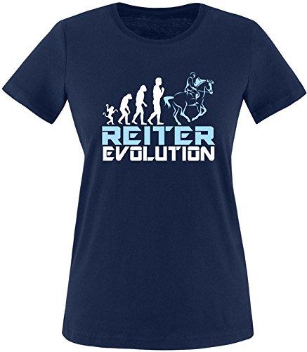 EZYshirt® Reiter Evolution Damen Rundhals T-Shirt Navy/Weiß/Hellbl