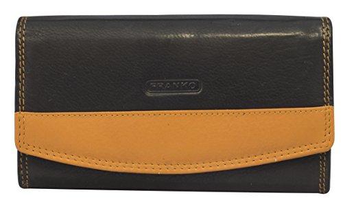Designer Damen Leder Geldbörse Portemonnaie Geldbeutel Echtleder 17 x 9,5 x 3,5 cm XXL Frauen Portemonnaie Portmonee Franko 378 (Orange) -