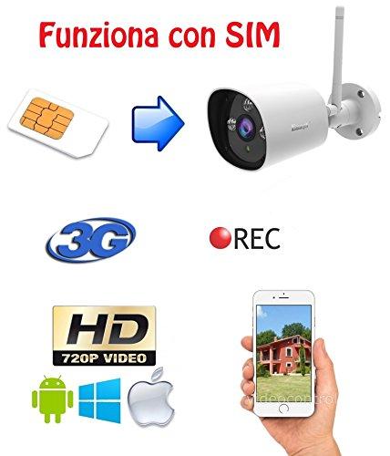 TELECAMERA UMTS 3G HD 1 Megapixel da esterno, funziona con tutte le SIM senza nessuna configurazione, visione in diretta tramite APP da smartphone, tablet e PC