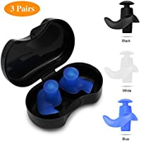SYOSIN Swimming Ear Plugs, 3 Pairs Professional Waterproof Reusable Silicone Earplugs for Swimming Showering Surfing Snorkeling and Other Water Sports
