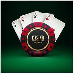 YongFoto 2,5x2,5m Vinyle Toile de Fond Studio Photo Casino à thème Puce de Jeu Cartes de Poker Quatre as Las Vegas Photographie Toile de Fond Photobooth Fond de Photo Studio Décors de Fête
