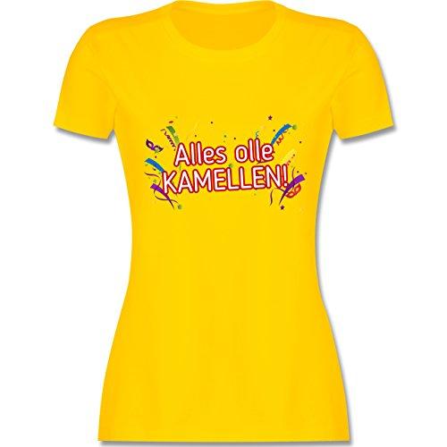 Karneval & Fasching - Alles olle Kamellen! - tailliertes Premium T-Shirt mit Rundhalsausschnitt für Damen Gelb