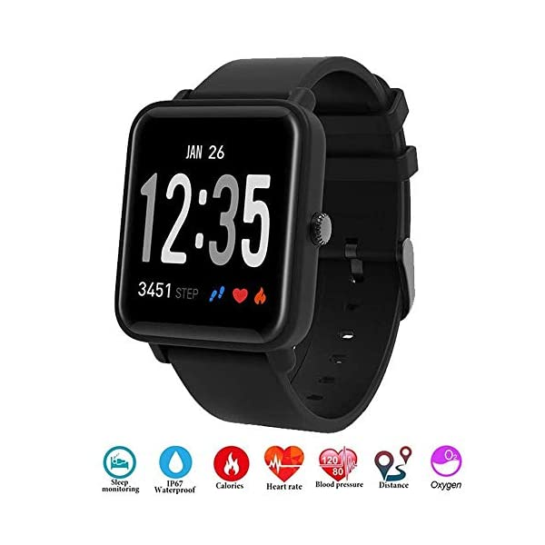 Fitness Tracker IP68 Impermeable Monitor, Letopro Rastreador de Pulsera Actividad Smartwatch Soporte Monitor de ritmo cardíaco Podómetro de presión arterial para Android IOS Mujeres Hombres 1