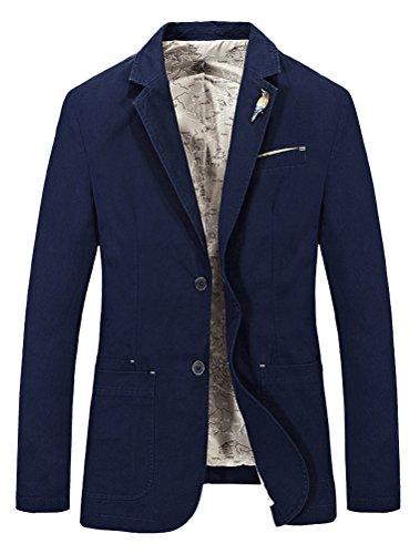 Navy Zwei-knopf-blazer-jacke (Mallimoda Herren Sakko Sportlich Jacke Slim Fit Freizeit Blazer Zwei-knopf Anzugjacke Übergröße Outwear Navy 2XL)