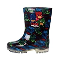 PJ MASK Boys Meavy Flashing Light Up Wellington Boots UK Sizes Child 5-12