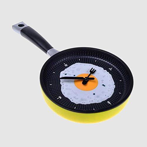 (MA87 Flache untere Topf Omelettes Clock Bar Decor Persönlichkeit Taschenuhr Wanduhr (Gelb))