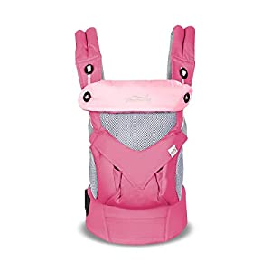 SONARIN 4 in 1 Breathable Baby Carrier,3D Breathable mesh,Sunscreen Hood,Ergonomic,for Newborn to Toddler(3-48 Months),Maximum Load 20kg,Front Facing Baby Carrier,Suitable for Summer(Pink)   4