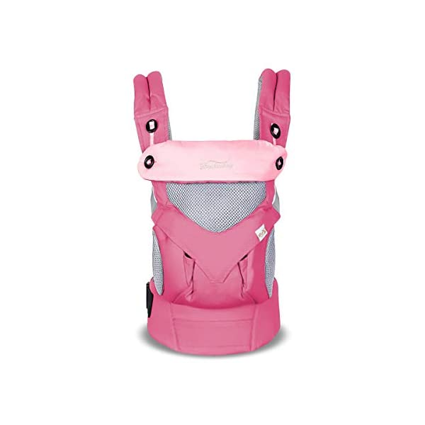 SONARIN 4 in 1 Breathable Baby Carrier,3D Breathable mesh,Sunscreen Hood,Ergonomic,for Newborn to Toddler(3-48 Months),Maximum Load 20kg,Front Facing Baby Carrier,Suitable for Summer(Pink) SONARIN Applicable age and Weight:3-48months of baby, the maximum load:20KG, and adjustable the waist size can be up to 47.2 inches (about 120 cm). Material:designers carefully selected soft and delicate breathable mesh.Enhanced breathability,Soft machine wash,do not fade,ensure the comfort,high strength,safe and no deformation,to the baby comfortable and safe experience. Description:Patented design of the auxiliary spine micro-C structure and leg opening design,natural M-type sitting.Adjustable back panel that grows with baby and offers head and neck support with sleeping hood that provides UV50+ sun protection. 1