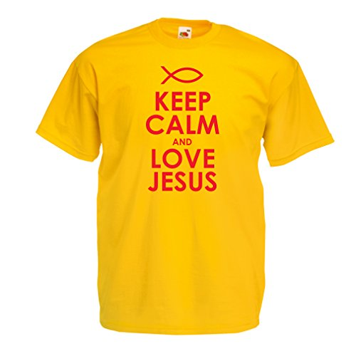 Geburt Kostüm Kinder Christi - Männer T-Shirt Liebe Jesus Christus, christliche Religion - Ostern, Auferstehung, Geburt Christi, religiöse Geschenkideen (Medium Gelb Rote)