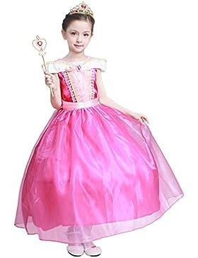 LOEL Mädchen Kleider Brosche Dornröschen Aurora Prinzessin Kleid Drop shoulder Cosplay Kostüme