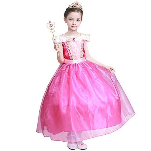sin Kleid Brosche Dornröschen Kostüme Cosplay Halloween Grimms Märchen Kleider Kinder Neue Ärmellos Spitze Hochzeits Festzug Party Kostüm Rosa (4-5 Jahre/120cm) ()