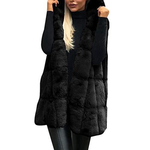Donna cappuccio giubbino gilet in pelliccia ecologica antivento autunno inverno smanicato giacche