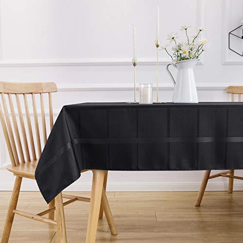 VEEYOO Mantel Rectángulo de Poliéster Mantel de Tela Escocesa de Rayas Suaves Mantel a Prueba de Derrames y Arrugas Mantel a Cuadros para Boda y Restaurante (Negro, 152x259 cm)