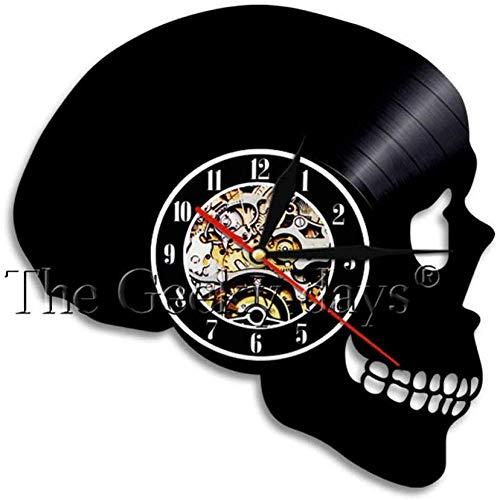 ZhaoCJB Calavera con Reloj de Rosa Reloj de Pared de Vinilo Vintage Reloj Decoración Reloj de Calavera Esqueleto Punky Reloj Hecho a Mano Decoración de Arte de Pared