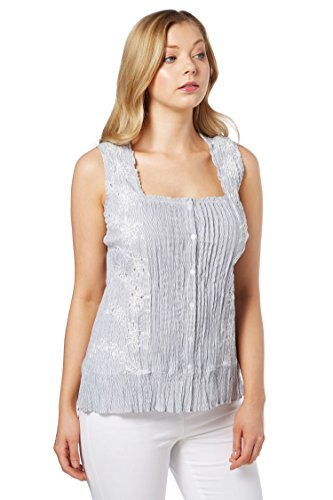 Roman Originals Damen Square Neck Crinkle-Bluse mit Stickerei, Blau (Stickerei Neck Square)