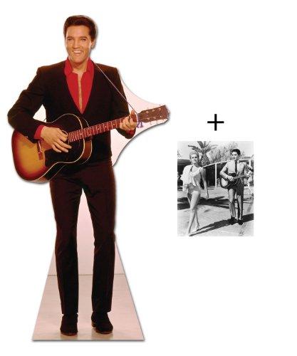 *FANBÜNDEL* - ELVIS PRESLEY IN RED SHIRT mit GUITAR - LEBENSGROSSE PAPPFIGUREN / STEHPLATZINHABER / AUFSTELLER - ENTHÄLT 8x10