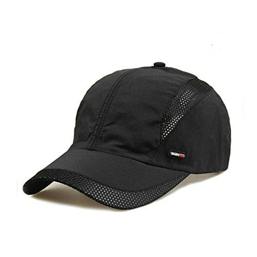 Unisex Baseball Cap Trucker Cap Mesh schnelltrocknende Summerhut Baseballkappe Mütze Caps Atmungsaktiv Basecap Sonnenschutz Hut für Sport und Freizeit (Schwarz) (Kappe Baseball Leder)