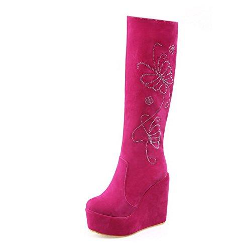 AgooLar Damen Reißverschluss Rund Zehe Hoher Absatz Rinder Hoch-Spitze Stiefel, Pink, 33