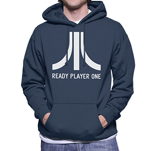 Atari Logo Ready Player One Men's Hooded Sweatshirt Navy blue