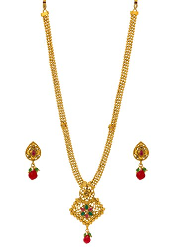 Bindhani® Traditional Multi-Strand Rani Har (Haar) Red Green Pendent Necklace Earrings Set For Women  available at amazon for Rs.421