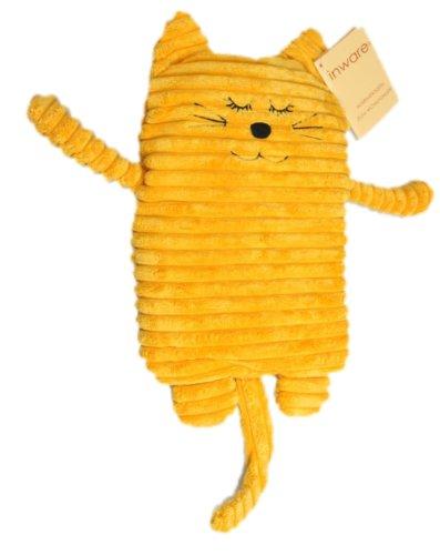 Inware 8785 - Coussin Chauffant Chat, jaune, 17 x 26 cm, pour le chauffage au micro-ondes, remplissage amovible