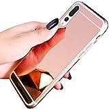 Uposao Kompatibel mit Huawei P20 Pro Hülle Spiegel Handyhülle Mirror Case TPU Silikon Schutzhülle Luxus Bling Strass Ultra Dünne Weich Handyhülle Silikon Handy Tasche TPU Case,Rose Gold