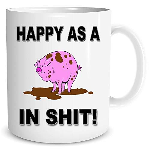 Lustige Neuheiten Unhöflich Tierische Geschenk Kaffee Tasse Froh als ein Schwein in Sh*T Bedruckt Tasse Kaffee Tee Geheimer Weihnachtsmann Geburtstagsgeschenk Kollege Freund Witz Geschenk WSDMUG1680