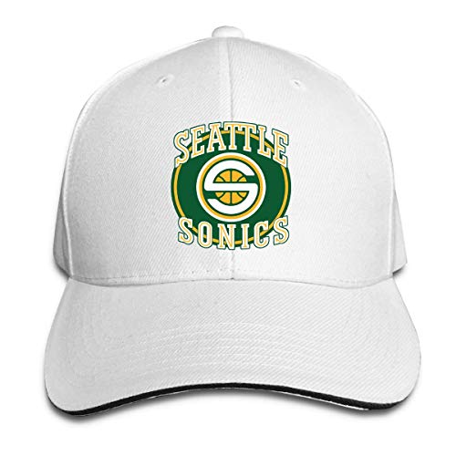 AbbyLexi Seattle Supersonics Baseball Caps Adjustable Sandwich Baseball Hat White - Seattle Baseball-park
