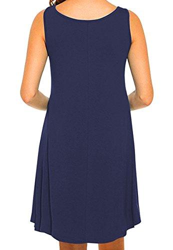 OMZIN Frauen Sleeveless Baumwolle beiläufiges Sleeveless ausgestelltes Behälter-Kleid S-2XL 1-Navy Blau