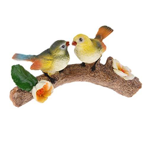 B Blesiya Hängende süße Vogel auf dem Zweig Gartenfigur Plastik Tier Vogel mit Eisenring für Innen Oder Außen Deko - 2