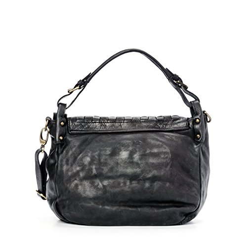 Ira del Valle, Borsa Donna, In Vera Pelle, Vintage, Modello West Coast Bag, Made In Italy Nero