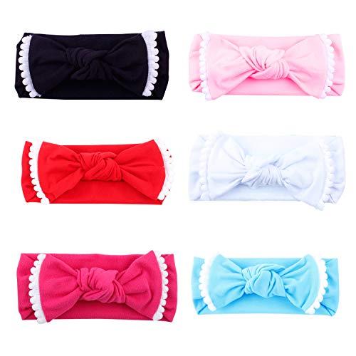 Girl 's Headbands, Flyfish 6er Pack assorted-color Baby Mädchen Kleinkind Kids Bunny Kaninchen Schleife Knoten Turban Stirnband Haarband Headwrap mit Kopfbedeckungen für die Fotografie Requisiten, Kostüm, Party, mehrfarbig,