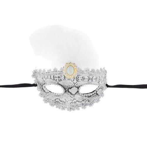Nylon Selbst Krawatte String Feather-Dekor Kunststoff Maskerade-Masken-Weiß