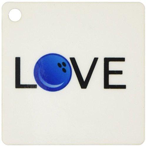 3drose Love Bowling–Schwarz Text Blau Ball O Fun Schüssel Team Bowler Typografie–Schlüssel Ketten, 5,7x 11,4cm, Set 2Stück (KC _ 180465_ 1)