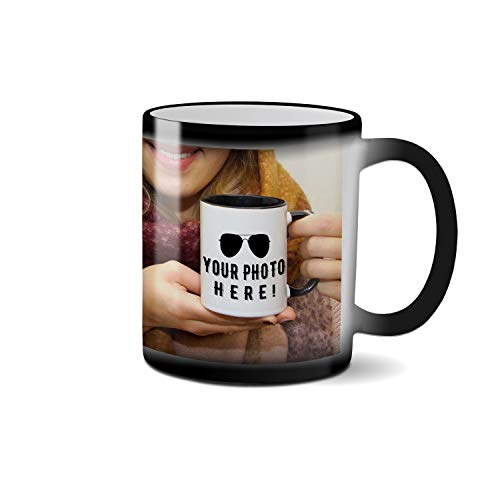 Tasse selbst Gestalten/Personalisierbar mit eigenem Foto oder Text Bedrucken Schwarze magische Hitze Farbänderungs Becher Kaffeetasse keramischer 312ml verwandelnder Becher