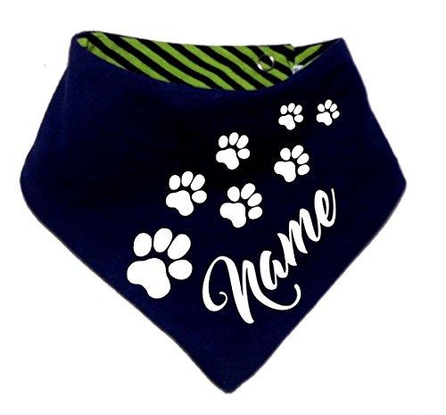 KLEINER FRATZ Gestreiftes Hunde Wende- Halstuch (Fb: Navy-Lime) (Gr.2 - HU 31-35 cm) mit dem Namen Ihres Tieres -