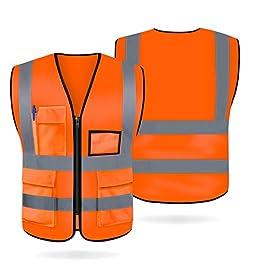 Artudatech Gilet Alta Visibilita, Giubbotto Alta visibilità Gilet Riflettente Gilet Sicurezza con 5 Tasche Gilet di…