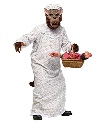 Böser Wolf im Oma Nachthemd Märchenkostüm für Fasching, Halloween & Karneval (Big Bad Wolf Kostüm Herren)