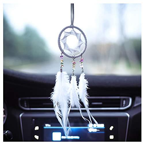 Dsaren Kleiner Traumfänger Handgefertigt Autospiegel Anhänger Natürliche Feder Perlen Dream Catchers Auto Ornamente Home Wandbehang Dekoration