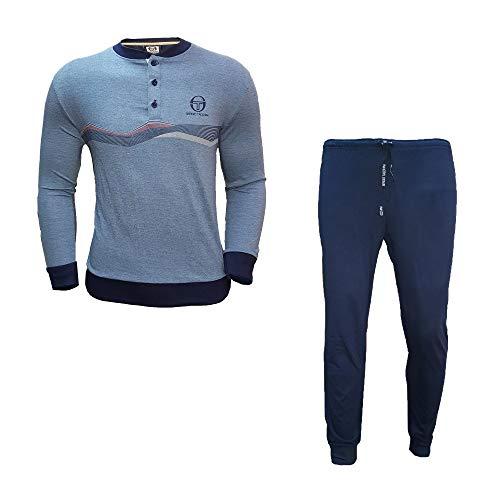 Sergio tacchini pigiama uomo lungo in cotone jersey nuova collezione art. 29240 (s, jeans)