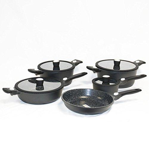 EGM Pro–Küchengeschirr-Set 17-teilig–Aluguss & Greblon C3–Antihaftwirkung & extreme Beständigkeit ohne PFOA (Perfluoroctansäure)–für gesundes Kochen und 0% Fett